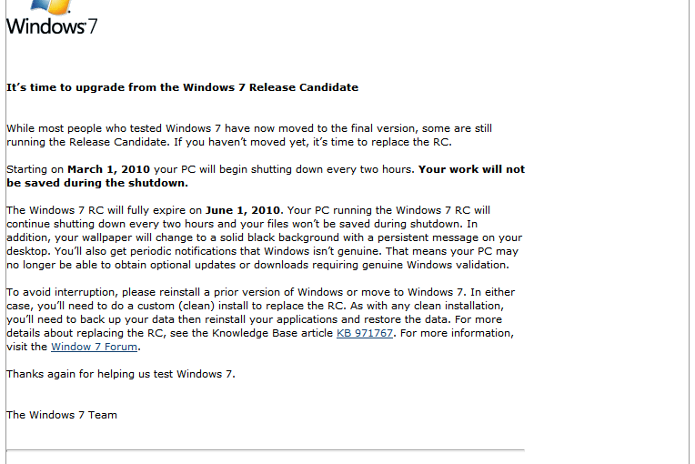 Window 7 Release Candidate is going to expire