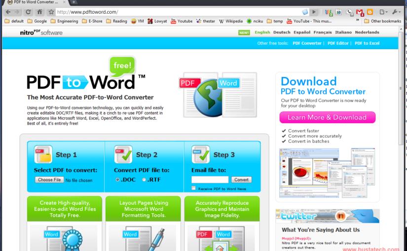 Convert PDF to Microsoft Word Document – Bust A TECH